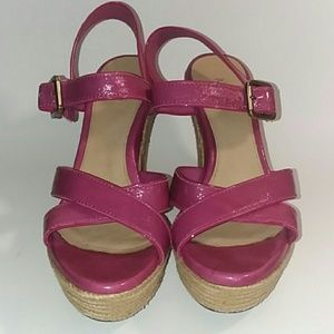 UGG Pink Patent Leather Platform Wedge Size 7